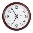 Round clock shows five minutes to seven