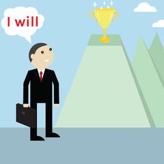 Businessmanlooking for trophy reward,vector successful concept