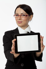 Women holding tablet computer