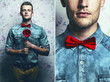 Arty fashion collage of a hipster young and handsome man in blue