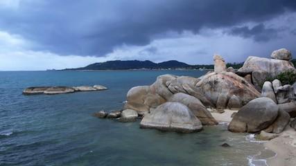 Bizarre Rock (Hin Ta Hin Yai) on Beach of Koh Samui. Thailand.