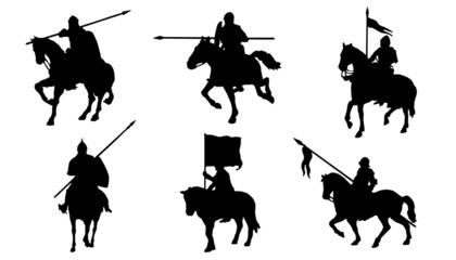 knight horse silhouettes