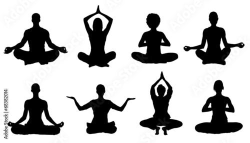 meditation silhouettes - 68382014