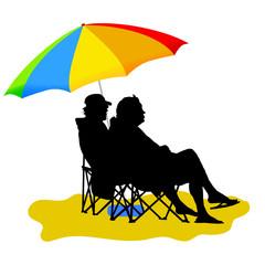 couple sitting under umbrella vector illustration