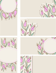 Cards with pink tulips