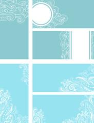 Blue decorative vector cards