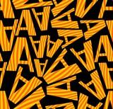 Dark seamless background with distinctive orange letters poster