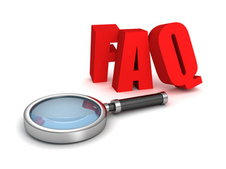 FAQ red letters with magnifier glass