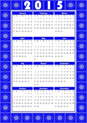 Calendar 2015 in folklore design with blue patterns