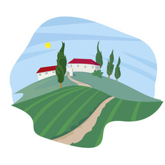 Summer Landscape with cypresses