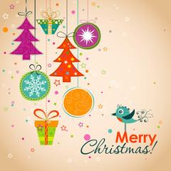 Template Christmas greeting card, ribbon, vector