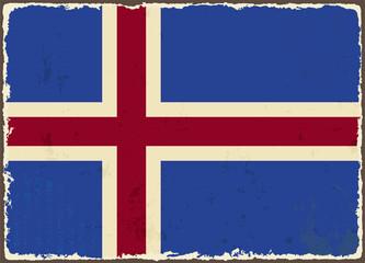 Icelandic grunge flag. Vector illustration