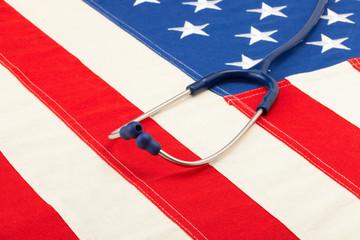 Blue stethoscope over USA flag - studio shoot