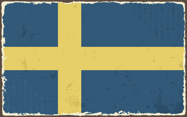 Swedish grunge flag. Vector illustration