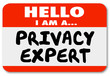 Hello I Am Privacy Expert Name Tag Sticker Knowledge Expertise