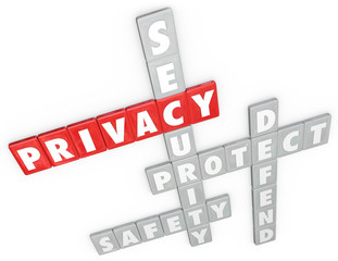 Privacy Security Protection Safety Defense 3D Word Letter Tiles