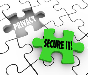 Privacy Secure It Words Puzzle Piece Gap Safety Private Informat