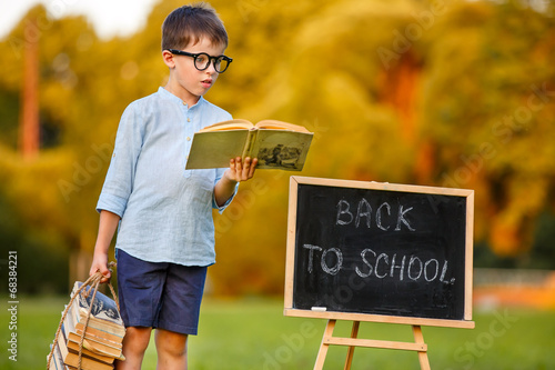 Cute little schoolboy reading book