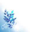 Abstract vintage blue background for design with leafs