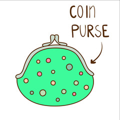 Sketchy illustration of cute dotted green coin purse