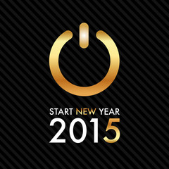 Silvester 2015 - Gold Power Button - Start new year