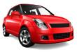 Red  supermini car