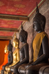 buddha statues with different color