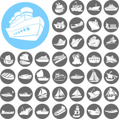 Boat and ship icons set. Illustration eps10