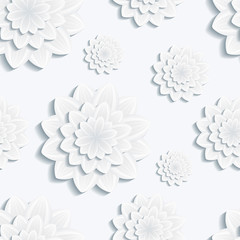Seamless pattern with grey 3d flower chrysanthemum