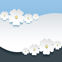 Greeting or invitation card with 3d flowers sakura