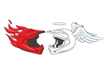 Devil and Angel Helmet Motocross