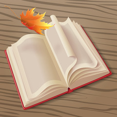 Open book and leaf