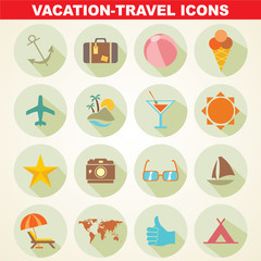 Travel and vacation flat icons collection