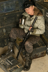 Armed combat female soldier
