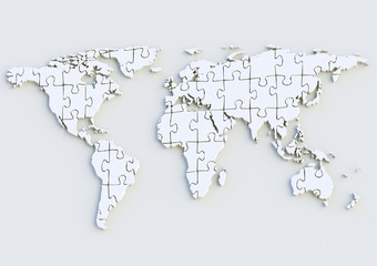 Weltkarte - World map 3D als Puzzle