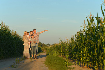 Family walking by road
