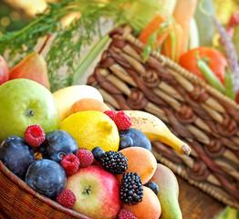 Fresh organic fruits and vegetables - closeup