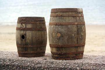 Two old wooden barrels for distilled beverage at a flea market