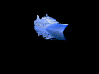 luxury yacht model isolated on black background