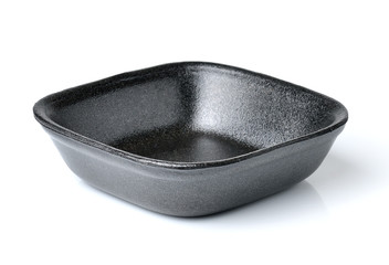 Black empty food tray. Isolated on white background