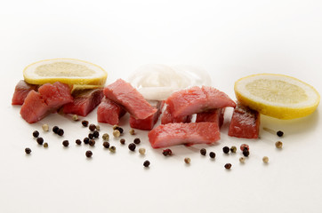 sliced pink ​​herring fillet strips