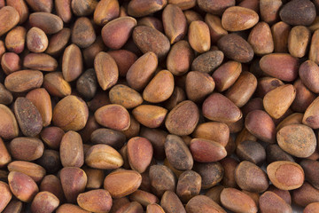 Pine nuts in shells as a background