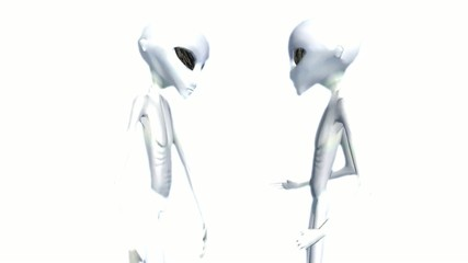 aliens on white luminous background