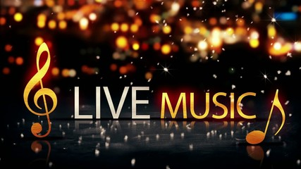 Live Music Gold Silver City Bokeh Star Shine Yellow Loop