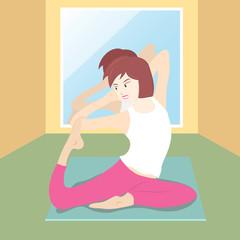 vector of women in yoga post