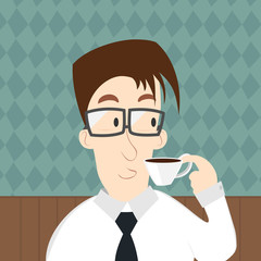 Vector of businessman drinking a coffee