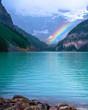 rainbow, lake louise