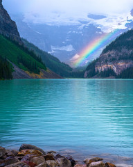 rainbow, lake louise