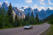 canvas print picture - sports car, moraine lake road