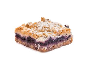 Blueberry pie on white background